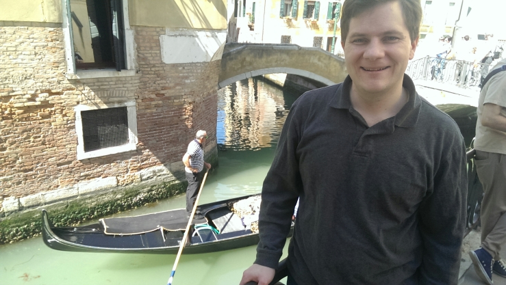 Frequently a motorboat would come the other way and the gondolier would shout a warning to NOT TOUCH THE GONDOLA.